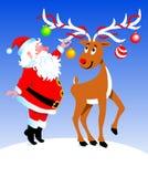 Santa e rena Fotografia de Stock Royalty Free
