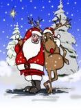 Santa e renna Fotografie Stock