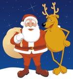 Santa e renna Immagini Stock