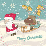 Santa e renna che sledging Fotografia Stock Libera da Diritti