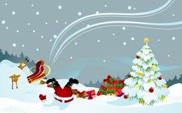 Santa e renna naufragate illustrazione vettoriale