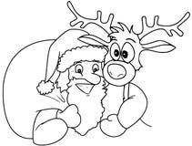 Santa e Rudolph Fotos de Stock Royalty Free