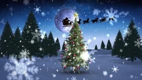 Santa e seu trenó que voam sobre dar laços nevado da árvore de Natal ilustração stock