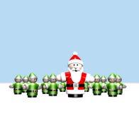 Santa e seus ajudantes pequenos no Pólo Norte ilustração do vetor
