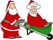 Santa e sig.ra Claus che gioca intorno illustrazione vettoriale