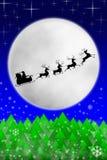 Santa e suas renas que montam de encontro à lua ilustração do vetor