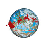 Santa earth. Computer generated earth with Santa and deers flying around the world stock illustration