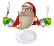 Santa Eating Christmas Dinner Food. Santa eating Christmas dinner, cartoon Santa sat down with a knife and fork ready for dinner to be put on his plate Royalty Free Stock Photo