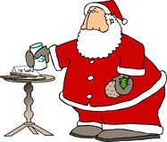 Santa eating snacks. This illustration that I created depicts Santa Claus eating cookies and milk that was left for him on a table Stock Photo