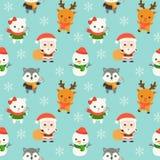 Santa ed animale, tema senza cuciture del modello di natale, per uso come w illustrazione di stock