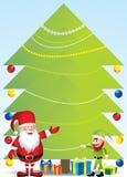 Santa ed elfo con l'albero di Natale - illustrazione Fotografia Stock