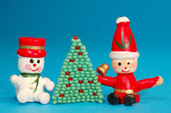 Santa ed uomo della neve Fotografie Stock