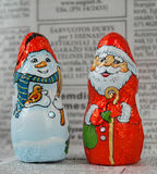 Santa ed uomo della neve Immagini Stock