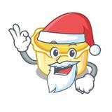 Santa egg tart mascot cartoon. Vector illustration Stock Photography
