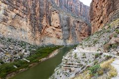 Santa Elena Canyon in Big Bend National Park with trail royalty free stock image