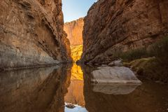 Santa Elena Canyon on the Rio Grand River in Big Bend National Park, Texas. On the USA and Mexico border. Natural international border royalty free stock images