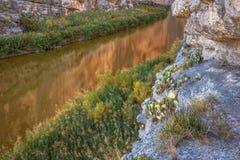 Santa Elena Canyon on the Rio Grand River in Big Bend National Park, Texas. On the USA and Mexico border. Natural international border royalty free stock photography