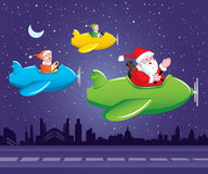 Santa and Elf in Aeroplane. Santa Claus and his 2 elves are going to distribute gifts from aeroplane stock illustration
