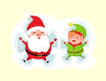 Santa and Elf Cartoon Character Having Fun in Snow. Santa and elf cartoon characters making butterflies laying in snow vector  on white background. Father Stock Photo