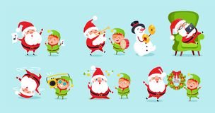 Santa Elf Cartoon Characters Advertisement Posters. Santa and elf cartoon characters advertisement posters set vector  on blue background. Father Christmas and Royalty Free Stock Photography