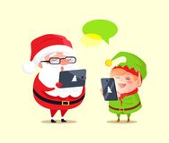 Santa Elf Cartoon Characters Chatting Smartphones. Santa and elf cartoon characters chatting with help of modern computer technologies. Father Christmas use Stock Photo