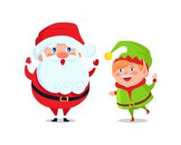 Santa and Elf Cartoon Characters Greetings Vector. Santa and elf cartoon characters greets everyone and wishes Merry Christmas and Happy New Year, cartoon Royalty Free Stock Photography