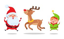 Santa and Elf Cartoon Characters Jumping High Icon. Santa and elf cartoon characters jumping high with deer animal vector illustration postcard isolated on white Royalty Free Stock Photos