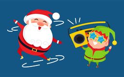 Santa and Elf Cartoon Characters Listen to Music. On retro tape recorder vector postcard with dancing Father Christmas, gnome in star shape glasses Stock Images