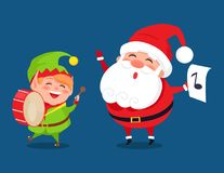 Santa and Elf Cartoon Characters Music Band Icons. Santa and elf cartoon characters music band. Gnome playing on drum musical instrument Santy with music sign Royalty Free Stock Images