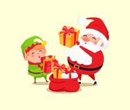 Santa Elf Cartoon Characters Put Present into Sack. Santa and elf cartoon characters put presents into big red sack vector illustration isolated on white. Father Stock Photos