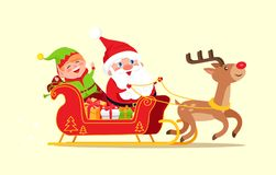 Santa and Elf Cartoon Characters Riding on Sleigh. Full of gift boxes on reindeer animal vector illustration cartoon characters isolated on white Stock Photo