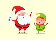 Santa Elf Cartoon Characters Singing Carol Songs. Santa and elf cartoon characters singing carol songs, dancing at loud music vector illustration cartoon Stock Photography
