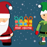 Santa and elf cartoon of Chistmas design Stock Photography