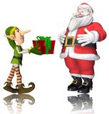 Santa and elf cartoon passing the present Royalty Free Stock Image