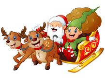 Santa and elf cartoon a riding in sled sleigh and gift bag with two reindeer Royalty Free Stock Image