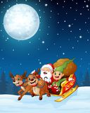 Santa and elf cartoon a riding in sled sleigh and gift bag with two reindeer in the night background Royalty Free Stock Photo