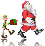 Santa and elf cartoon walking Stock Images