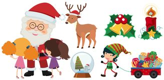 Santa and elf with christmas elements. Illustration Stock Photography