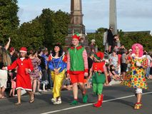 New Zealand: small town Christmas parade kids in costume Stock Photo