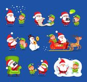 Santa and Elf Collection, Vector Illustration. Santa and elf collection, Claus and little boy happy because of snow, reading wishlists, singing and laughing vector illustration