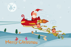 Santa and Elf flying in sleigh for Merry Christmas Stock Photos