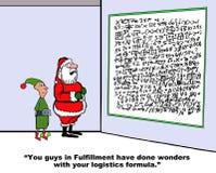 Santa and Elf Look at Logistics Formula Stock Image