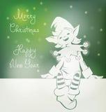 Santa elf na kartce bożonarodzeniowa, bunner, pisze list Fotografia Stock