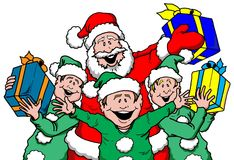 Santa and Elf's with Gifts. Cartoon illustration of Santa and Elf's with Gifts Stock Image