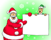 Santa and Elf with sign. Image of a happy Santa and an Elf holding a blank sign Stock Photo
