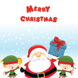 Santa With-ELFEN stock abbildung