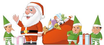Santa and elfs group Royalty Free Stock Image
