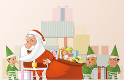 Santa and elfs Royalty Free Stock Photo