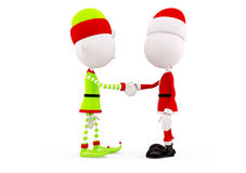 Santa and Elves for christmas. Santa and Elves is shaking hand stock illustration