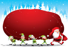 Santa and elves - Illustration. Illustration of a Santa Claus and elves carrying a huge sack of gifts. Vector format EPS8 stock illustration